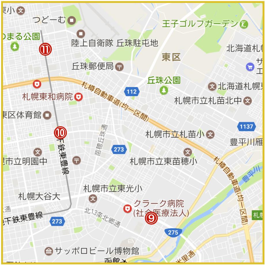 札幌市東区にあるアコム店舗・ATMの位置