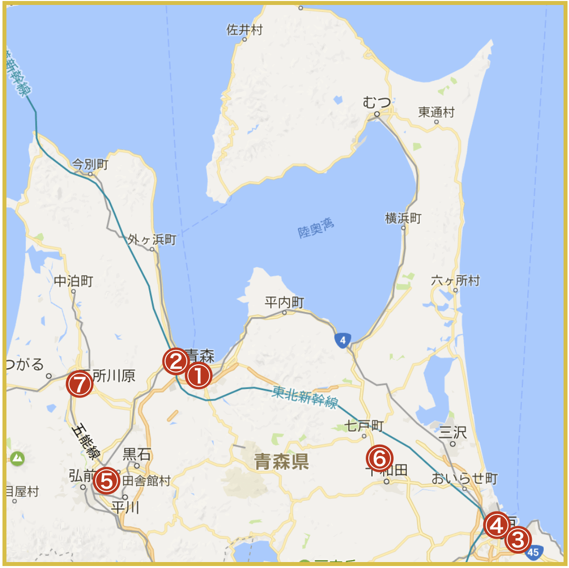 青森県にあるアイフル店舗・ATMの位置