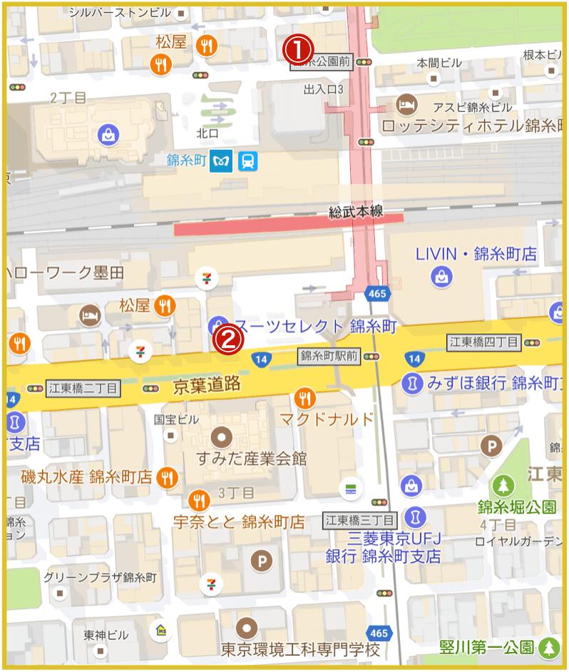 錦糸町駅周辺にあるアコム店舗・ATMの位置