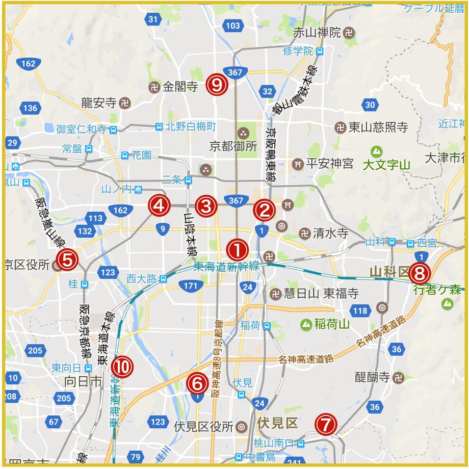 京都府京都市にあるプロミス店舗・ATMの位置
