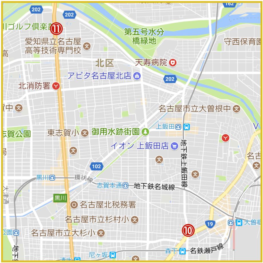 名古屋市北区にあるアコム店舗・ATMの位置