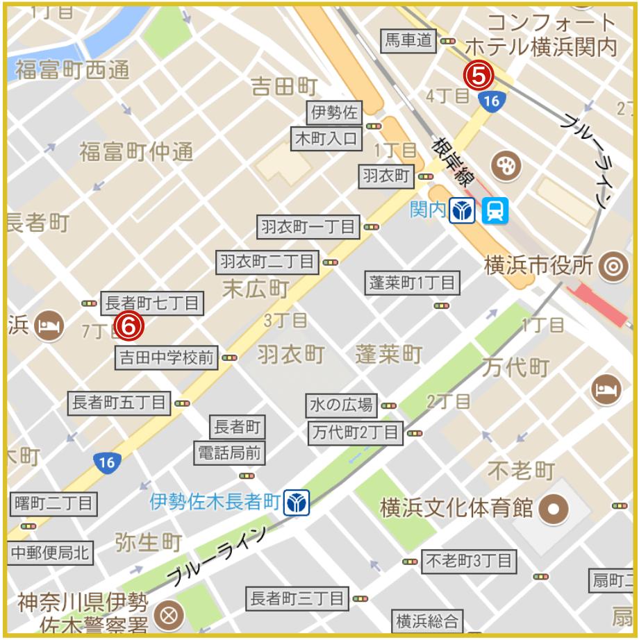 横浜市中区にあるアコム店舗・ATMの位置