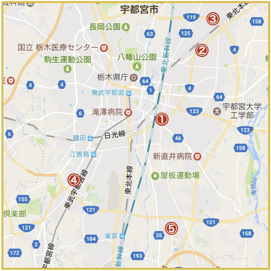 宇都宮市にあるアコム店舗・ATMの位置(2020年4月版)