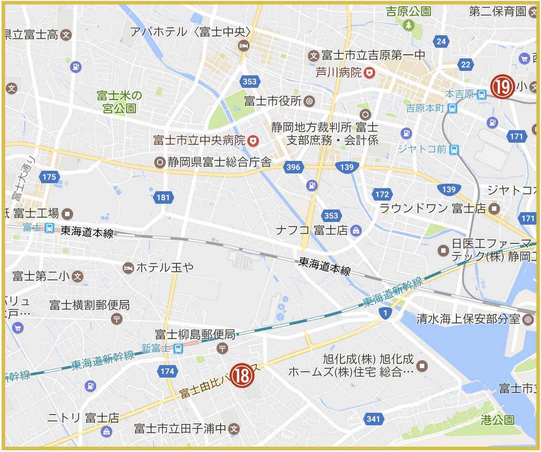 静岡県富士市にあるアコム店舗・ATMの位置