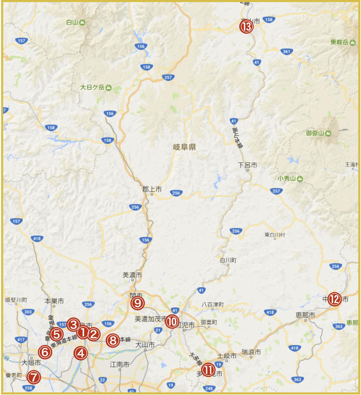 岐阜県にあるアイフル店舗・ATMの位置