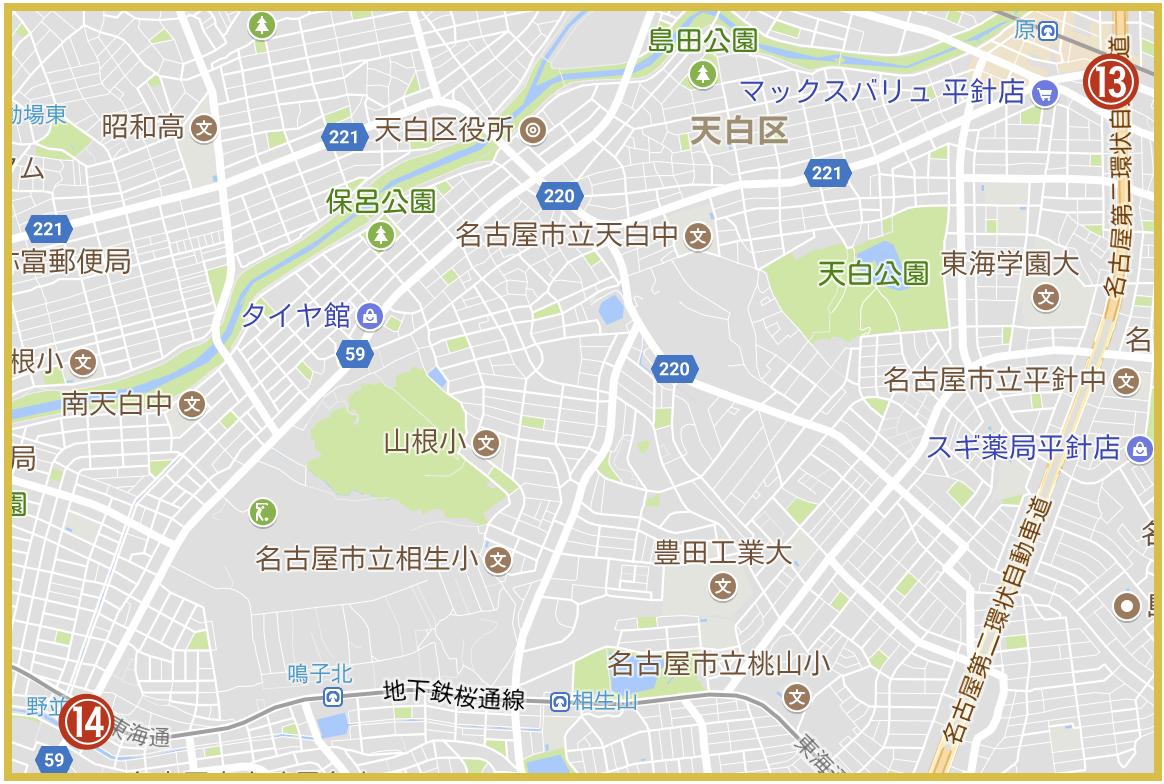 名古屋市天白区にあるアコム店舗・ATMの位置(2020年4月版)