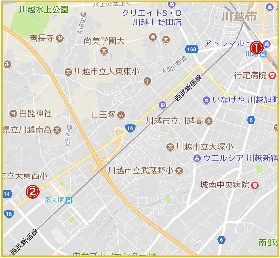 川越市にあるアコム店舗・ATMの位置