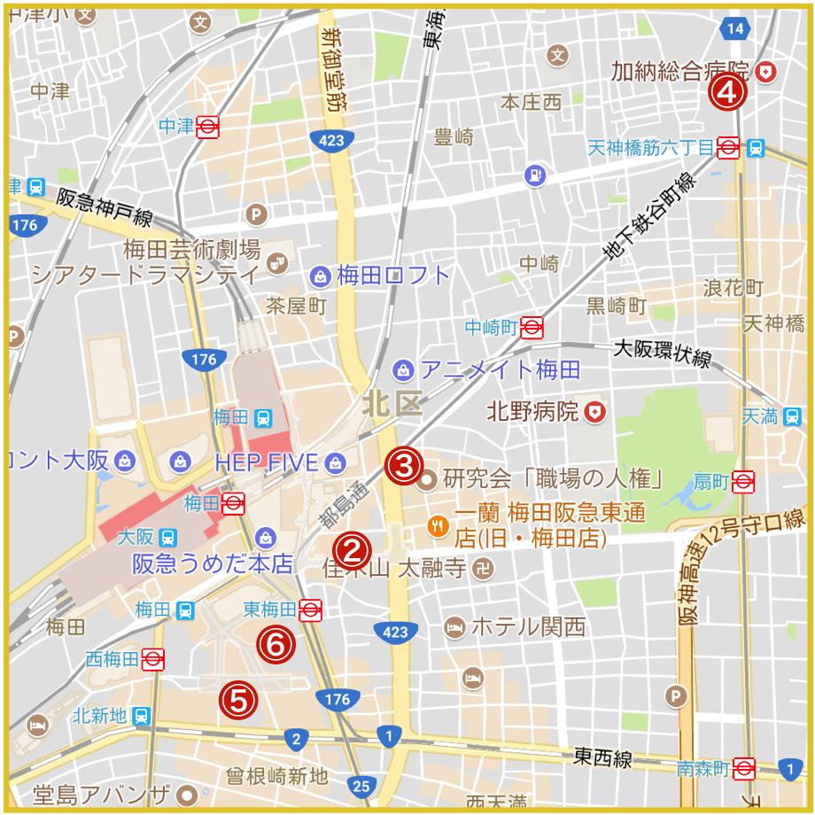大阪市北区にあるプロミス店舗・ATMの位置