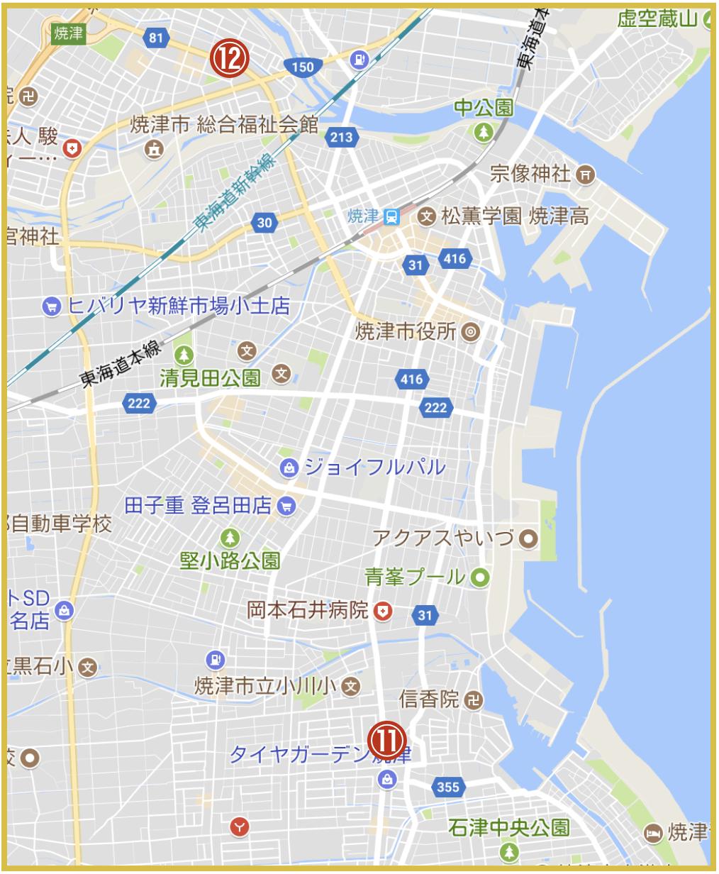 静岡県焼津市にあるアコム店舗・ATMの位置