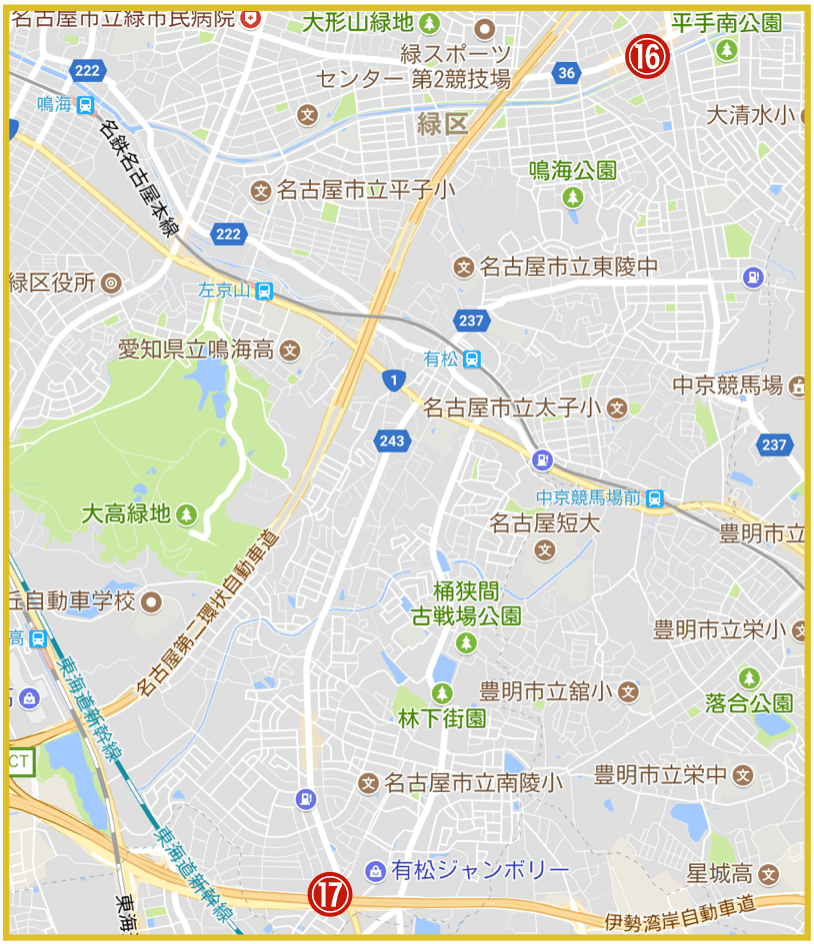 名古屋市緑区にあるアコム店舗・ATMの位置