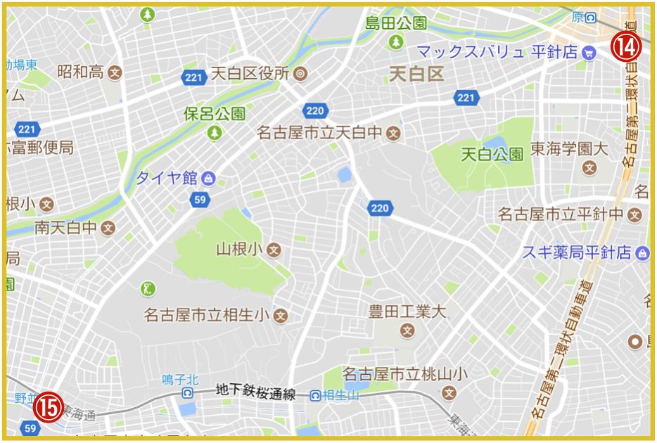 名古屋市天白区にあるアコム店舗・ATMの位置