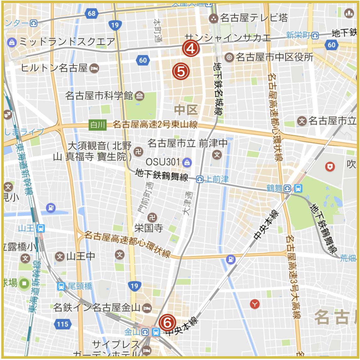 名古屋市中区にあるアコム店舗・ATMの位置