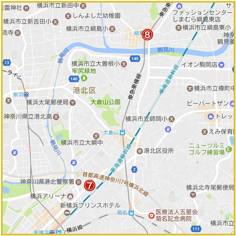 横浜市港北区にあるアコム店舗・ATMの位置