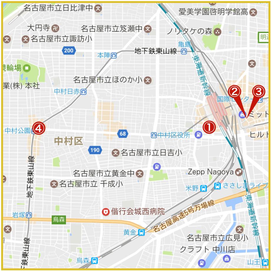 名古屋市中村区にあるアコム店舗・ATMの位置