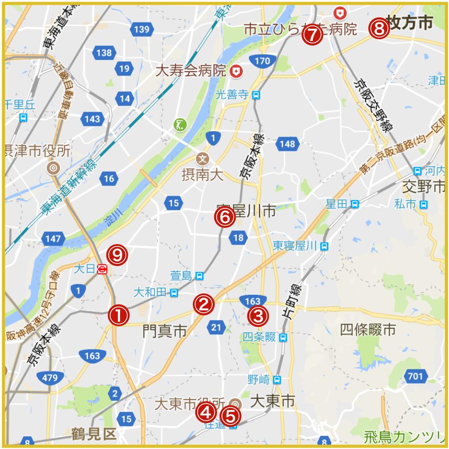 大阪府北河内地域にあるプロミス店舗・ATMの位置