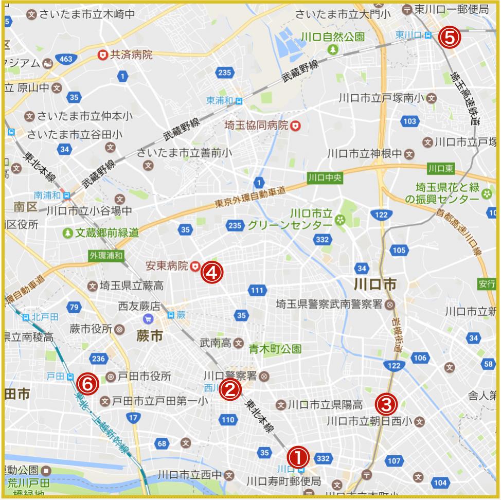 埼玉県南部地域にあるアコム店舗・ATMの位置