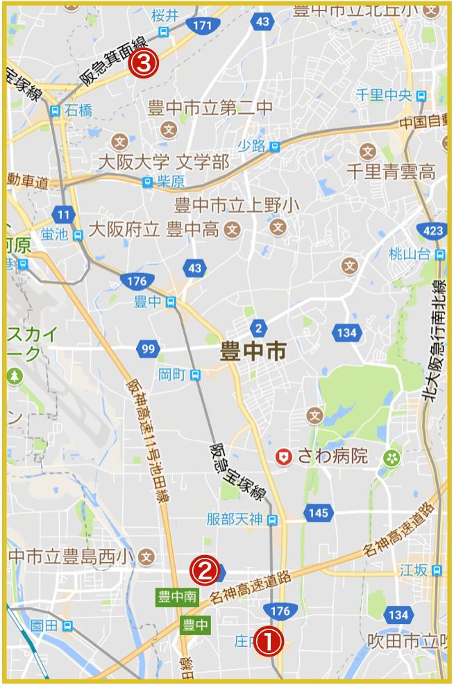 大阪府豊能地域にあるプロミス店舗・ATMの位置