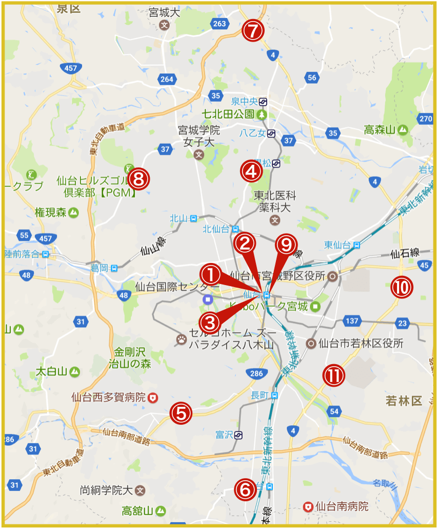仙台市にあるアコム店舗・ATMの位置