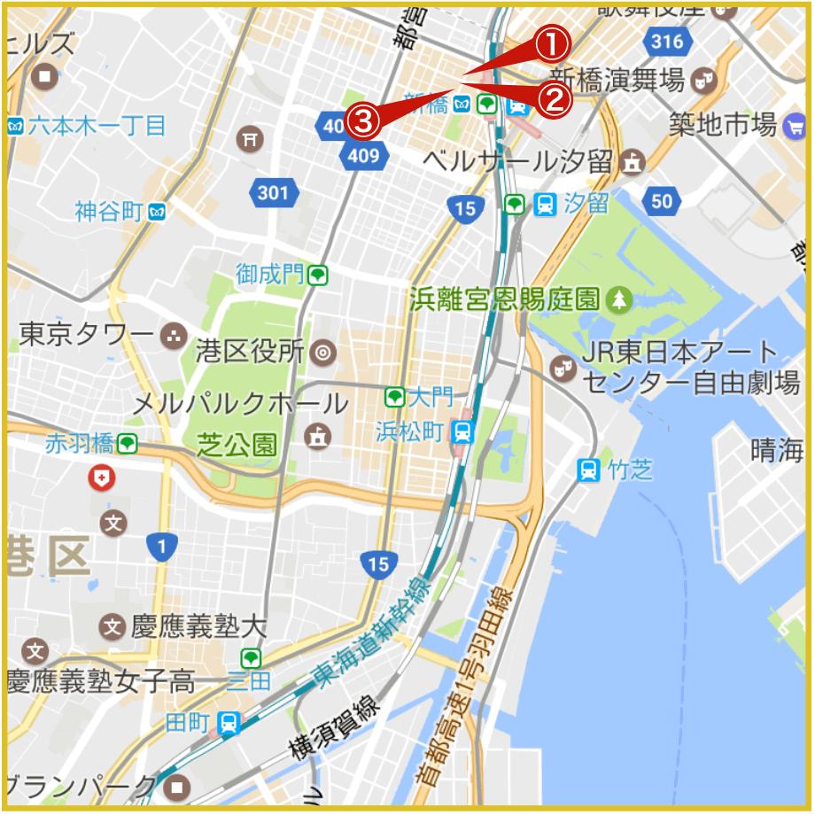 田町駅から最寄りにあるプロミス店舗・ATMの位置