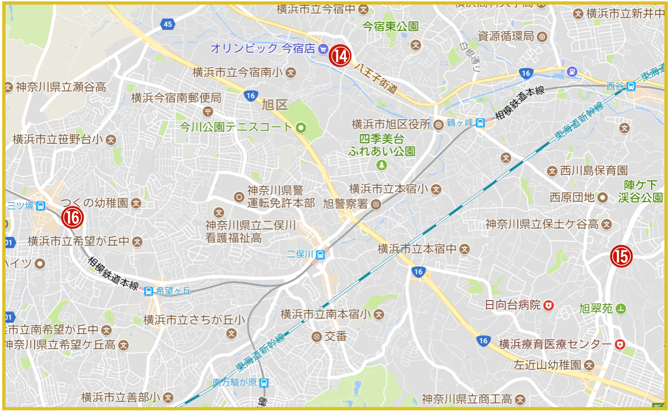 横浜市旭区にあるアコム店舗・ATMの位置