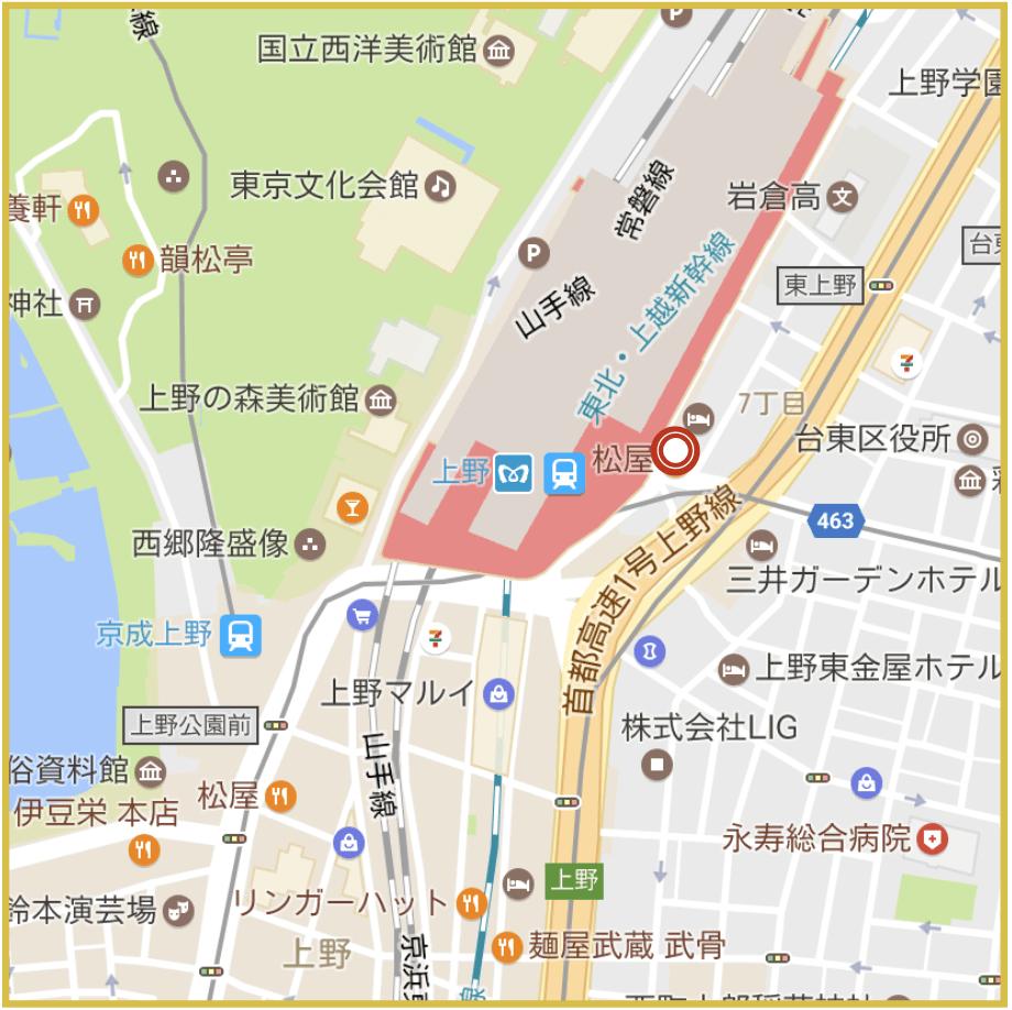 上野駅周辺にあるアコム店舗・ATMの位置
