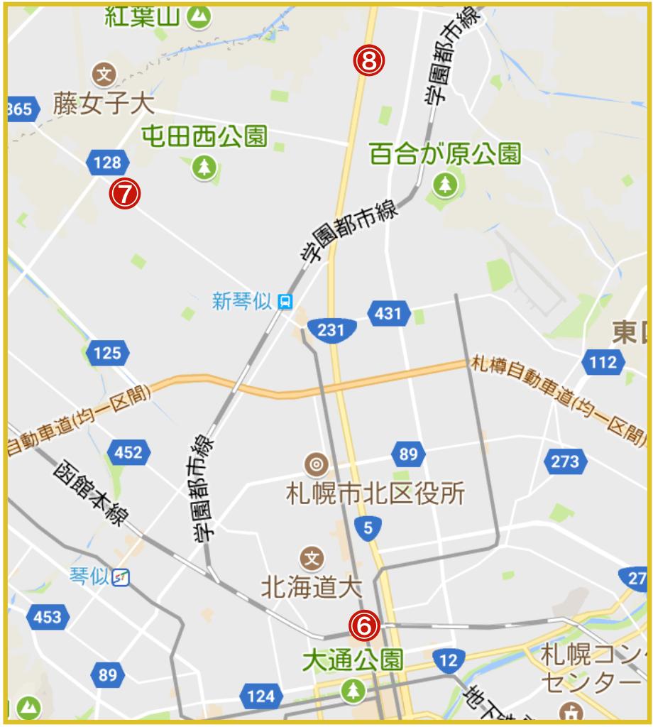 札幌市北区にあるアコム店舗・ATMの位置