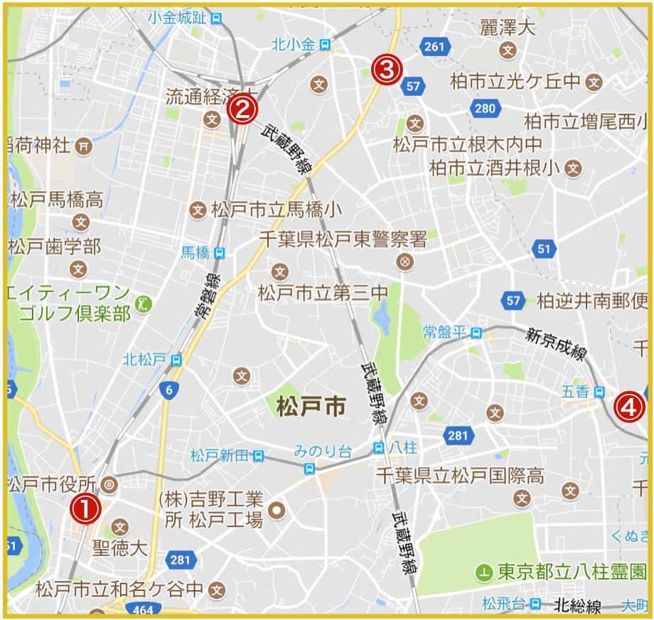 松戸市にあるアコム店舗・ATMの位置