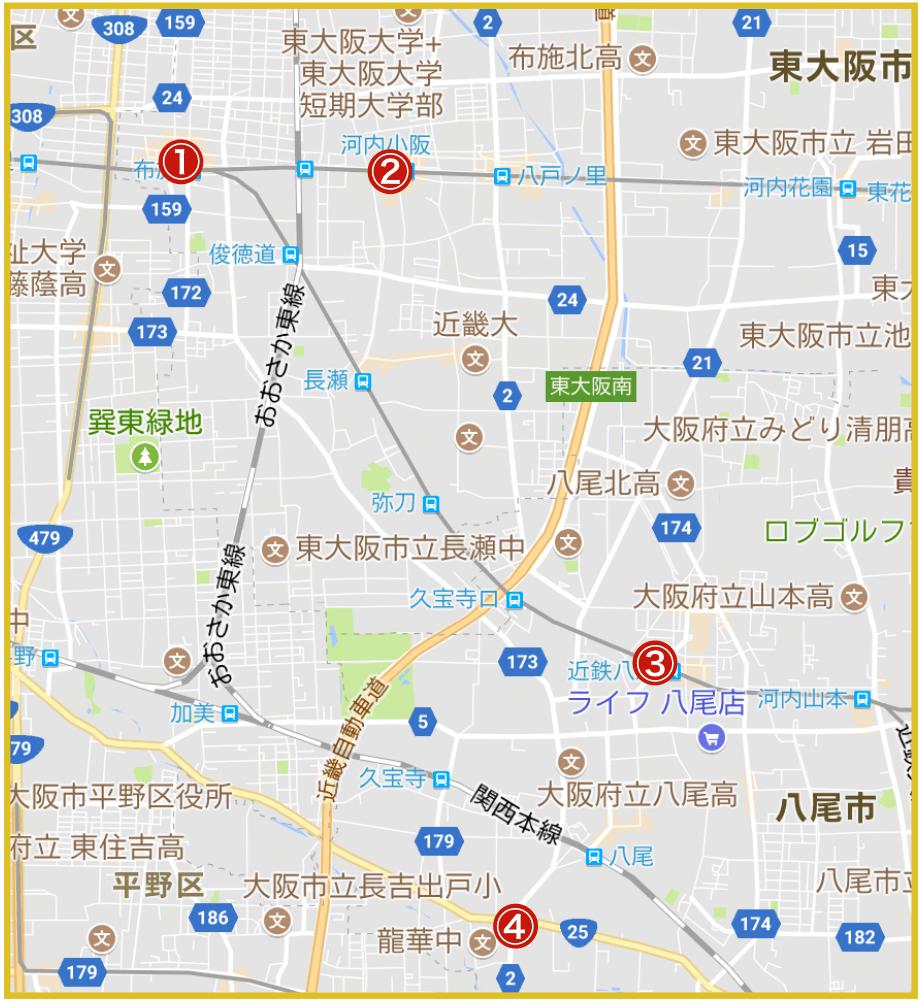 大阪府中河内地域にあるプロミス店舗・ATMの位置