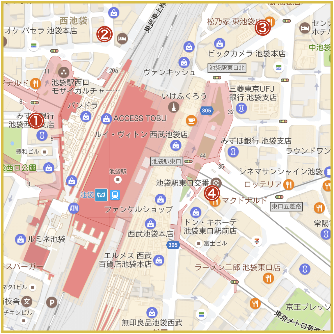池袋駅周辺にあるアコム店舗・ATMの位置