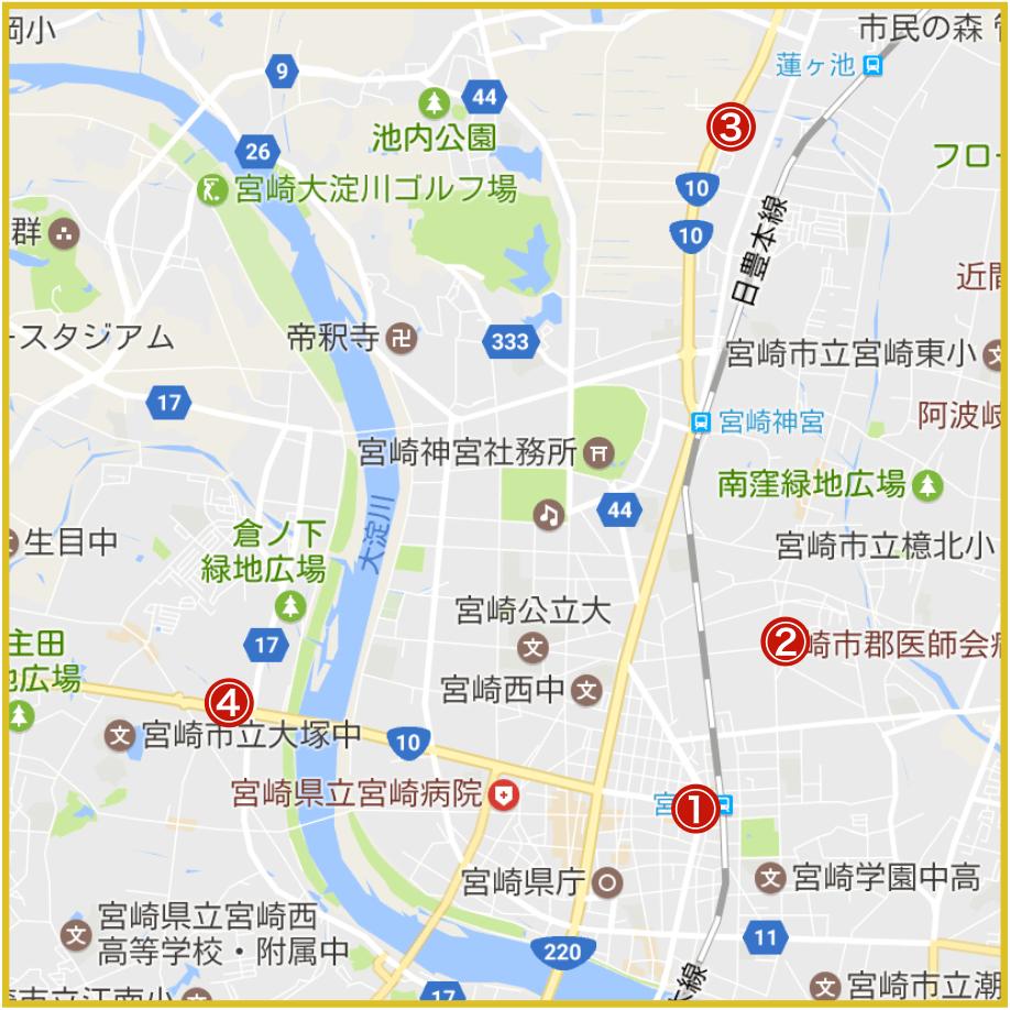 宮崎県宮崎市にあるプロミス店舗・ATMの位置