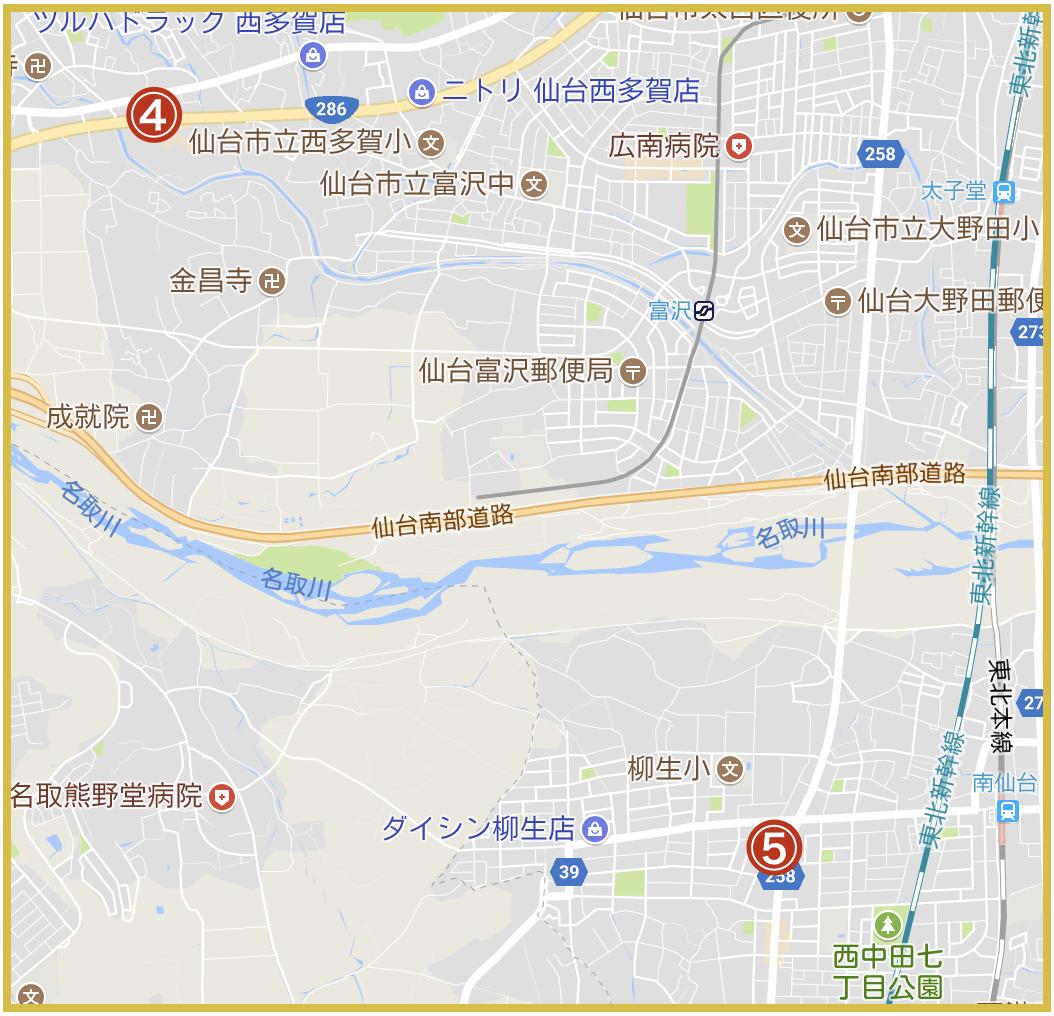 仙台市太白区にあるアコム店舗・ATMの位置(2020年4月版)