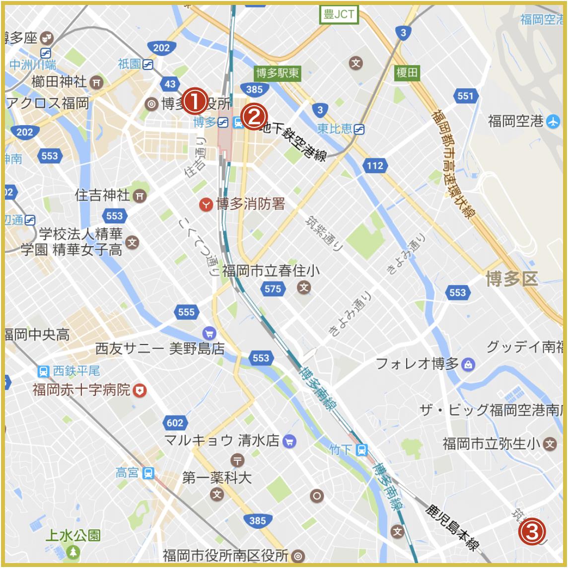 福岡市博多区にあるアイフル店舗・ATMの位置