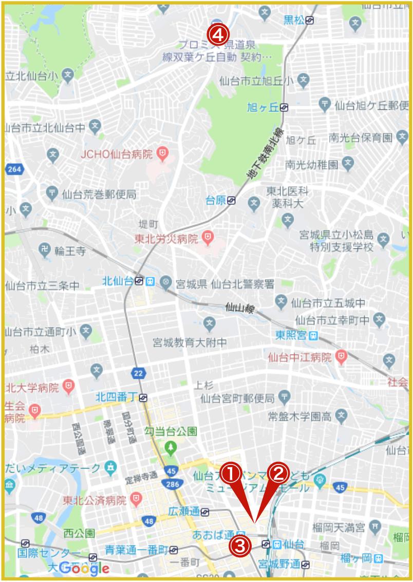 仙台市青葉区にあるアコム店舗・ATMの位置