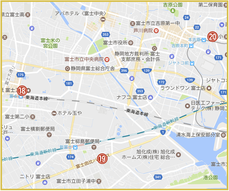 静岡県富士市にあるアイフル店舗・ATMの位置