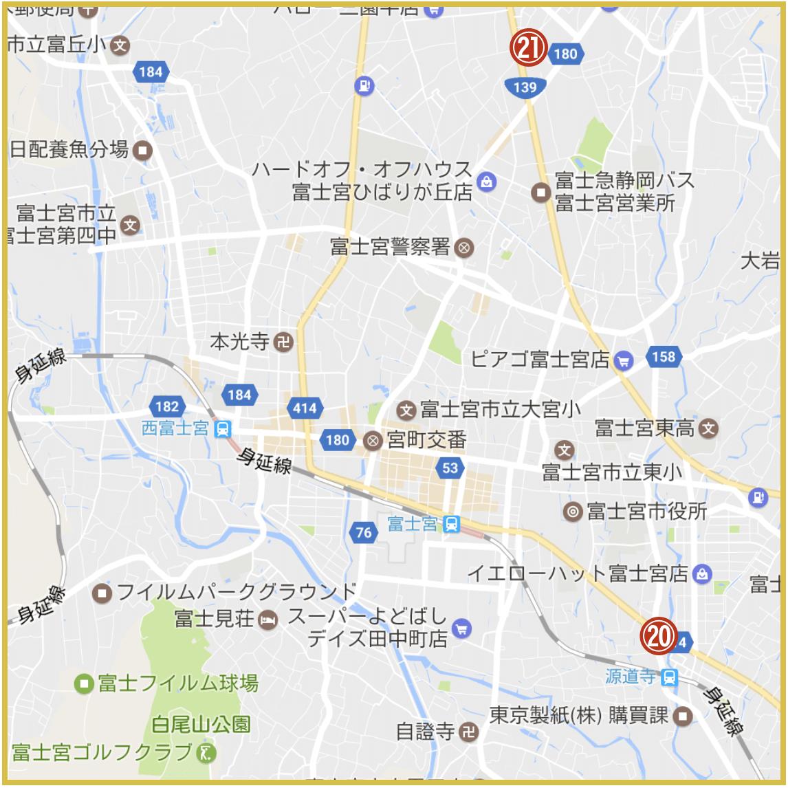 静岡県富士宮市にあるアコム店舗・ATMの位置