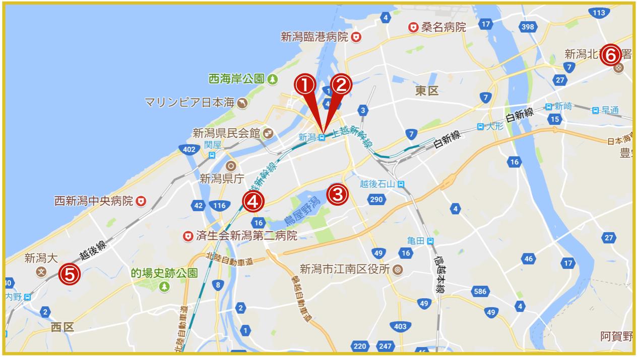 新潟県新潟市にあるアコム店舗・ATMの位置