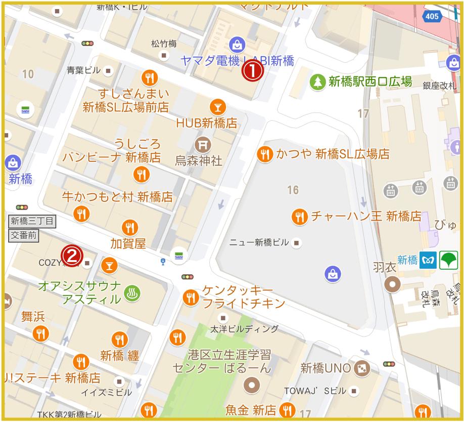 新橋駅周辺にあるアコム店舗・ATMの位置