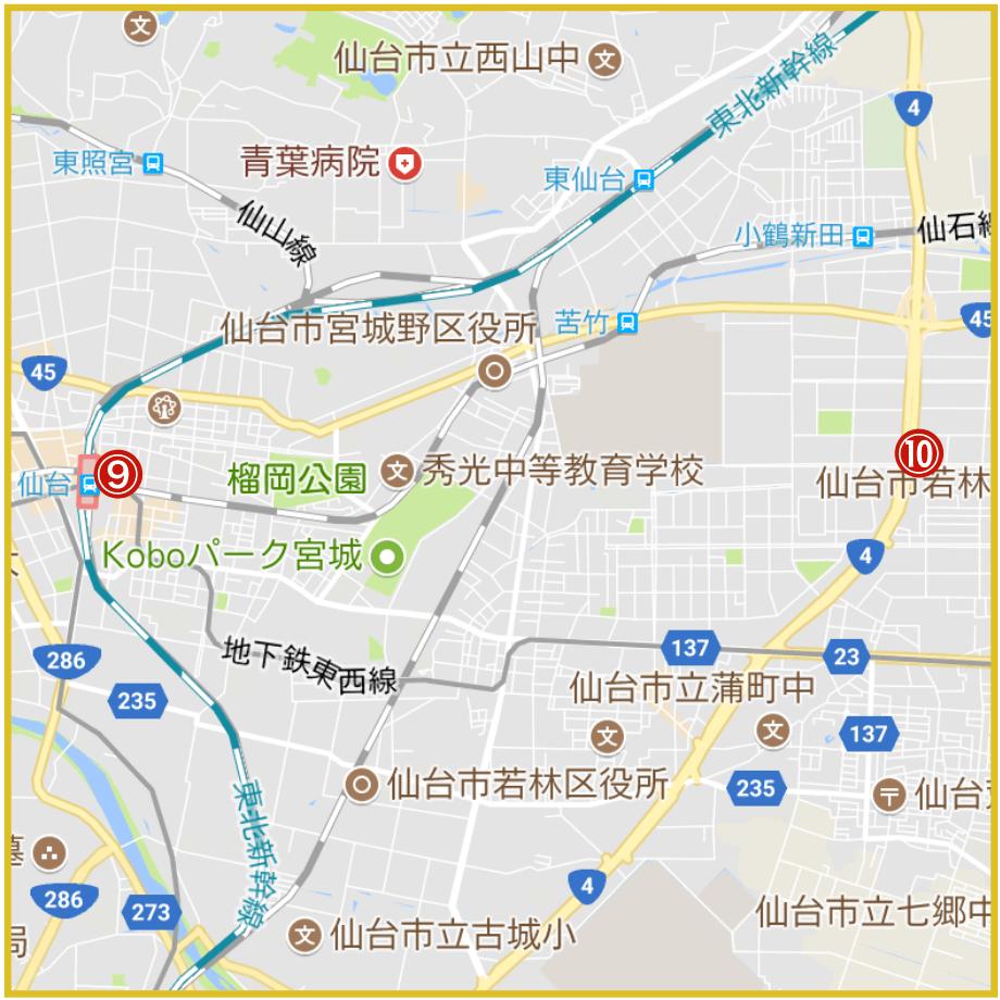 仙台市宮城野区にあるアコム店舗・ATMの位置