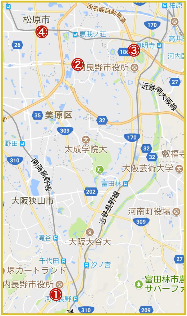 大阪府南河内地域にあるプロミス店舗・ATMの位置