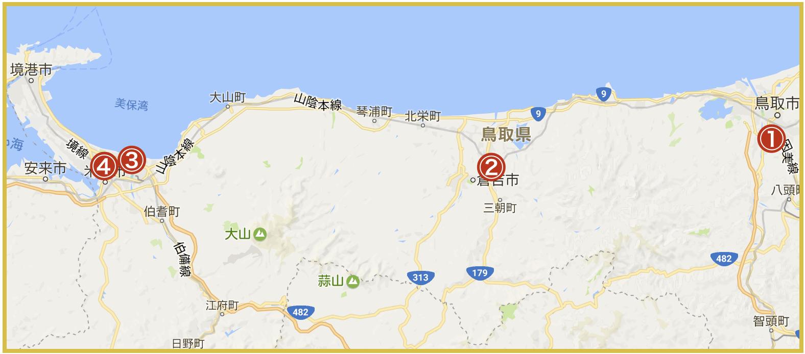 鳥取県にあるアイフル店舗・ATMの位置