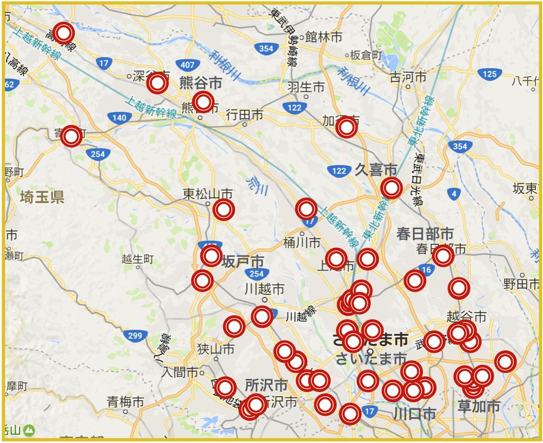 埼玉県にあるアコム店舗・ATMの位置