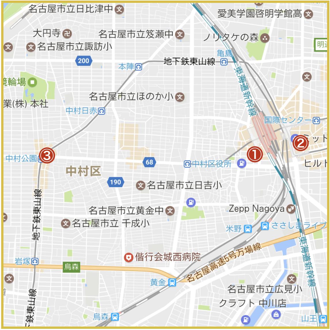 名古屋市中村区にあるアコム店舗・ATMの位置(2020年4月版)
