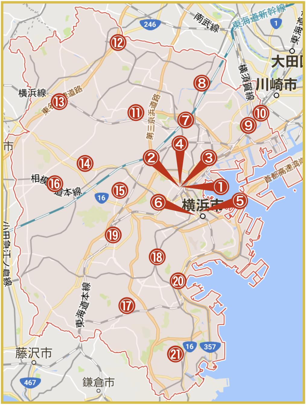 横浜市にあるアコム店舗・ATMの位置