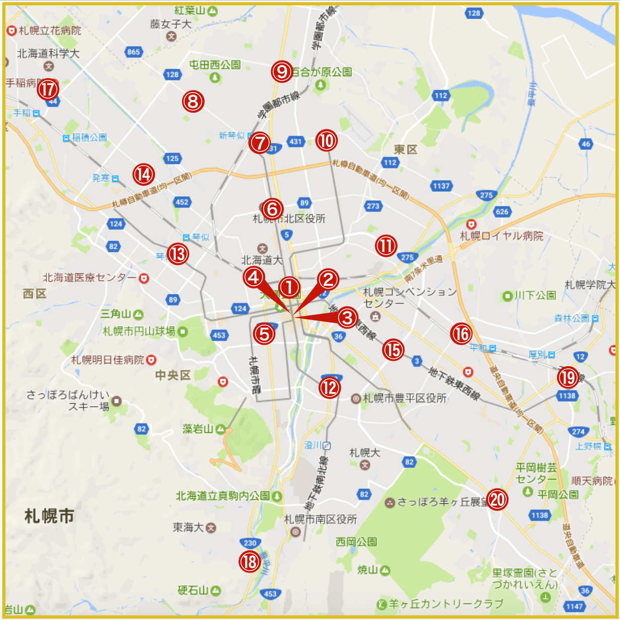 札幌市にあるプロミス店舗・ATMの位置