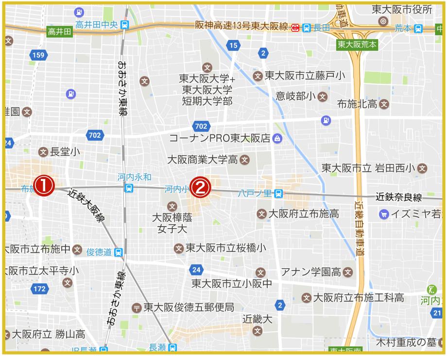 東大阪市にあるプロミス店舗・ATMの位置