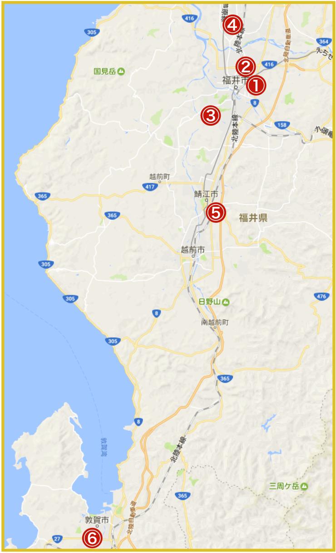 福井県にあるアコム店舗・ATMの位置