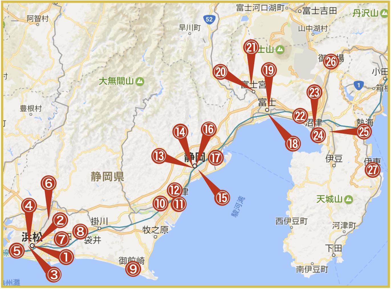 静岡県にあるアコム店舗・ATMの位置