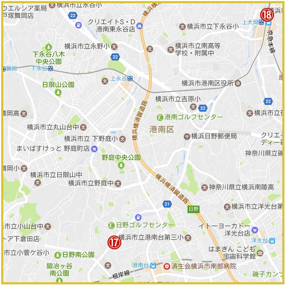 横浜市港南区にあるアコム店舗・ATMの位置