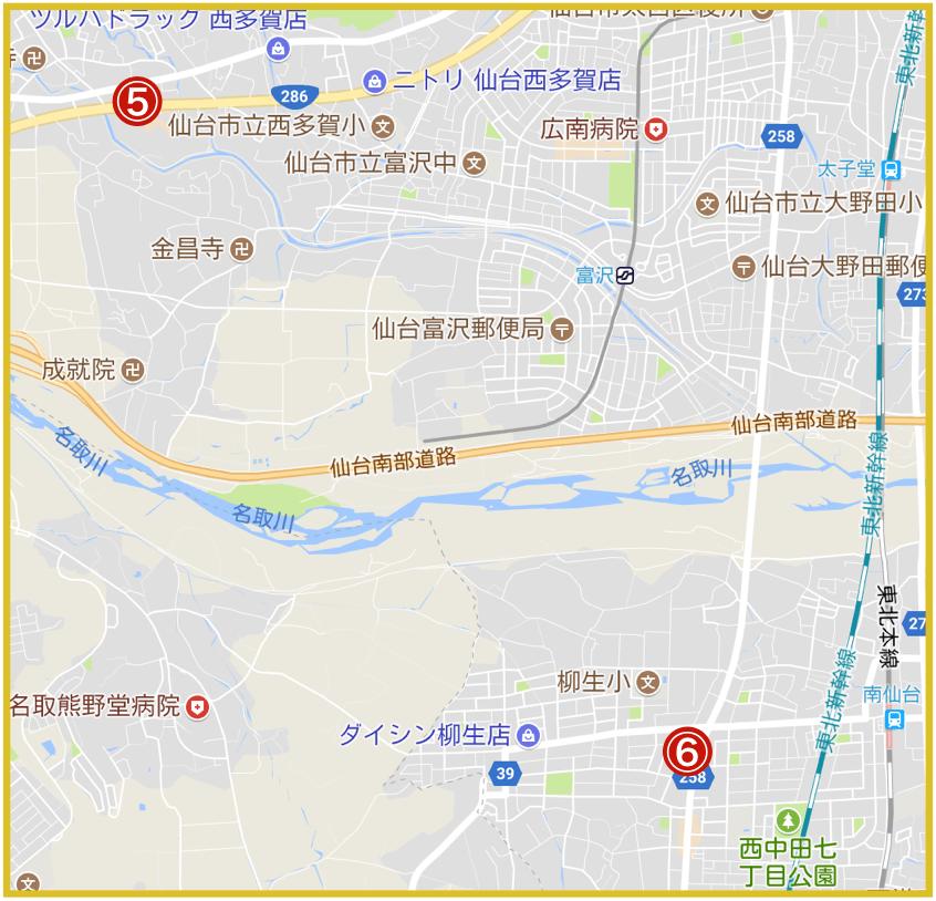 仙台市太白区にあるアコム店舗・ATMの位置