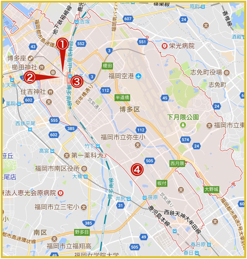 福岡市博多区にあるアコム店舗・ATMの位置